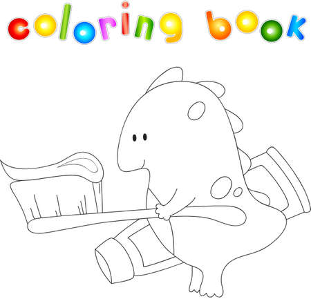 baby dragon: Cute smiling baby dragon with toothbrush and toothpaste. illustration for children about healthy lifestyle and health. Educational coloring book