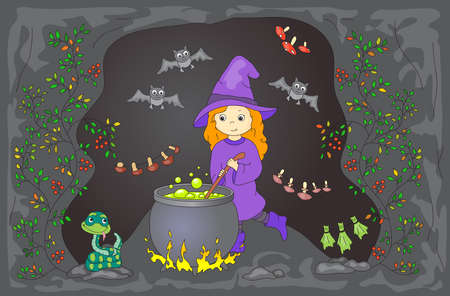 boils: Pretty friendly witch brews a potion. Magic potion boils in a cauldron. Dried mushrooms are hanging in a cave. Snake and bats sitting nearby. illustration for kids