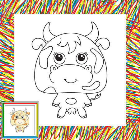 moo: Funny cartoon cow. Coloring book for kids Stock Photo