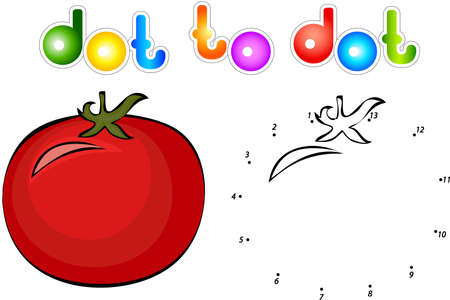 get ready: Big and juicy tomatoes. Educational game for kids: connect numbers dot to dot and get ready image. illustration for children