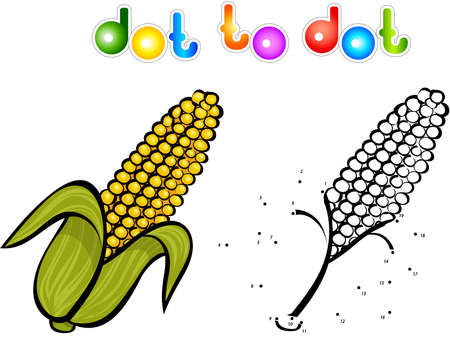 sweet corn: Juicy and sweet corn. Educational game for kids: connect numbers dot to dot and get ready image. illustration for children
