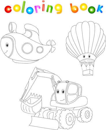 Conjunto De Avión, Barco Y Tren. Libro Para Colorear Para Los Niños ...