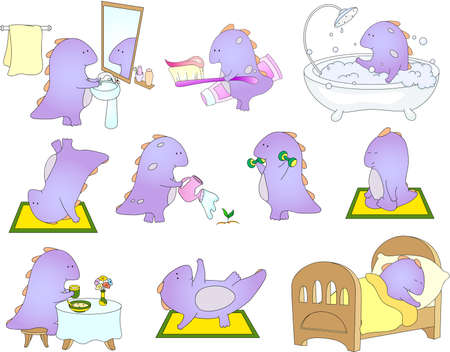wash care: Crummy bellied dragon is sleeping, doing exercises, washing his hands, taking bath, eats his breakfast or dinner and watering flowers. Stock Photo