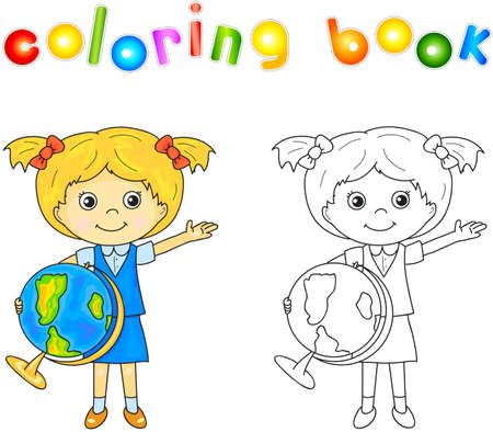 green little planet earth: Cute little girl standing with a globe in her hands and smiling. Educational game for kids. illustration for children