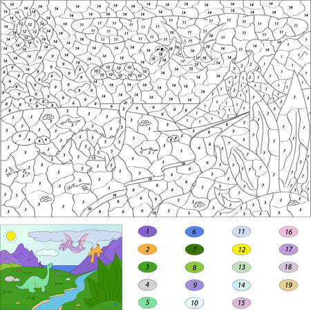 Pterodactyl: Color by number educational game for kids. Dinosaurs pterodactyl and diplodocus.