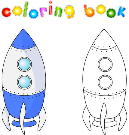 spacecraft: Spacecraft or aerospace vehicle. Coloring book for children about space.
