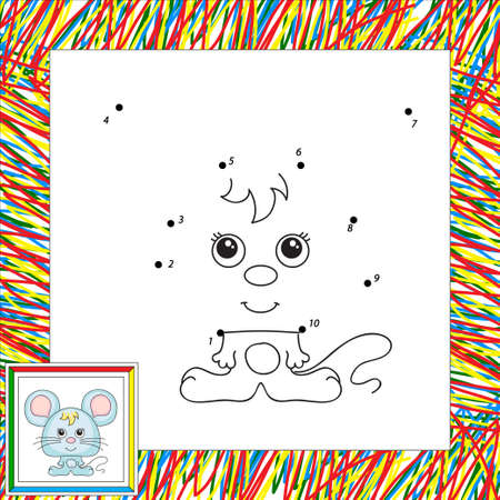 cute mouse: Funny and cute mouse. Dot to dot game