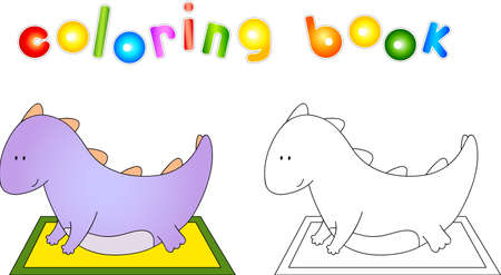 bellied: Crummy bellied dragon doing exercises. Coloring book about healthy lifestyle for children.