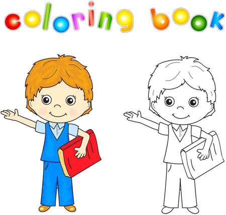 green little planet earth: Boy in school uniform with red book. Coloring book for kids. Stock Photo
