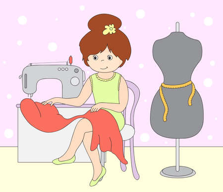 sew: Pretty cute seamstress is sitting at the sewing machine. Mannequin standing beside the girl.