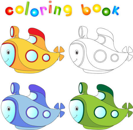 cartoon submarine: Funny cartoon submarine. Coloring book for children.