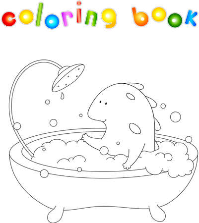 baby dragon: Cute smiling baby dragon taking bath with foam. illustration for children about healthy lifestyle and health. Educational coloring book