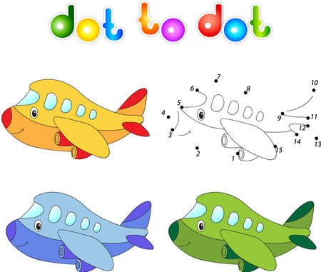 airplane engine: Funny cartoon aircraft. Connect dots and get image. Educational game for kids.