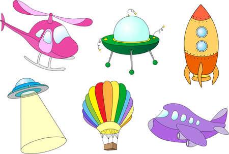 ?flying saucer?: Conjunto de transporte aéreo de dibujos animados: globo, avión, helicóptero, cohete, platillo volante y UFO.