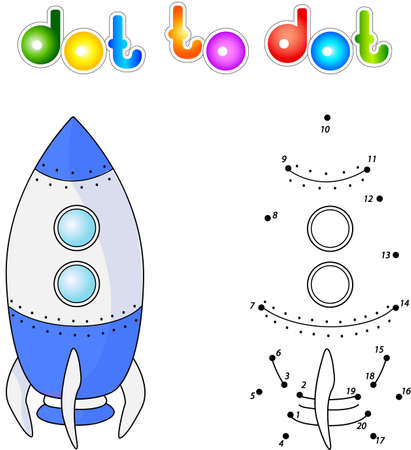 spacecraft: Spacecraft or aerospace vehicle. Connect dots and get image. Educational game for kids. Stock Photo