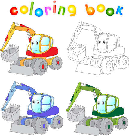 dredger: Funny cartoon excavator. Coloring book for children.