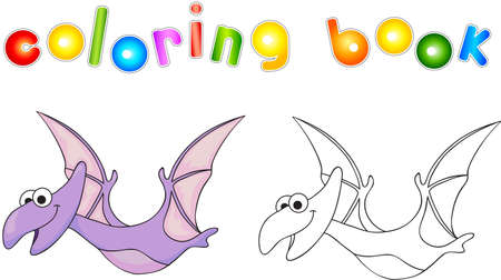 Funny cute diplodocus. Educational game for kids. Coloring book. Reklamní fotografie - 44651596