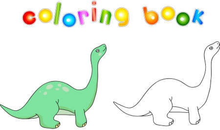 Funny cute diplodocus. Educational game for kids. Coloring book.
