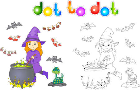 boils: Pretty friendly witch brews a potion. Magic potion boils in a cauldron. Connect dots and get image. Educational game for kids. Stock Photo