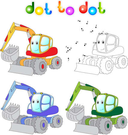 dredger: Funny cartoon excavator. Connect dots and get image. Educational game for kids.