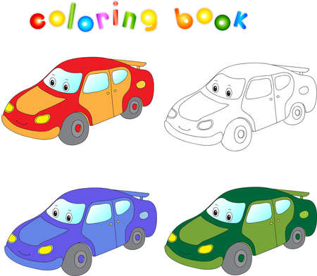Funny cartoon car. Coloring book for children.