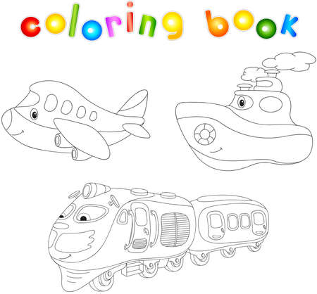 Set Of Plane, Ship And Train. Coloring Book For Children About ...