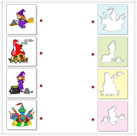 broomstick: Witch with cauldron and cat, witch on a broomstick, fairy mushroom house and multicolored castle. Educational game for kids. Choose the correct silhouettes on the opposite side and connect the points