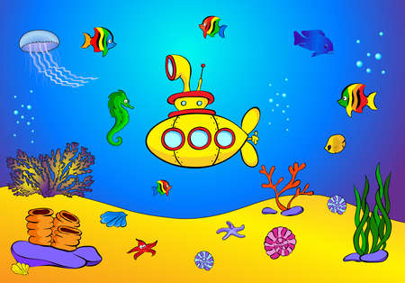 on the floor: Yellow submarine and fish under water. Seahorse, jellyfish, coral and starfish on the ocean floor. Stock Photo