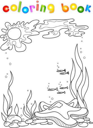Sea star in the ocean. Coloring book for children. 写真素材