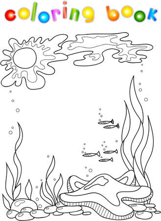 sea star: Sea star in the ocean. Coloring book for children. Stock Photo