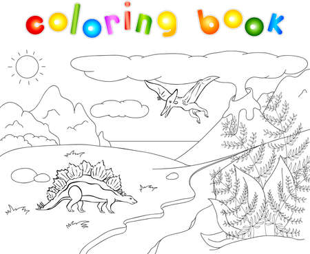 spews: Dinosaurs stegosaurus  and pterodactyl on a background of  prehistoric nature: mountains, sea and ferns. Volcano spews lava. Coloring book.