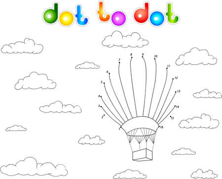 sky cloud: Colorful balloon in the sky. Connect dots and get image. Educational game for kids.
