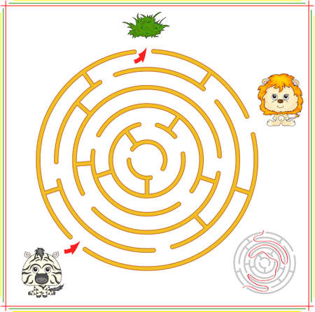Zebra must go to grass and not to fall into the clutches of the lion. Game for children: go through the maze and find the right answer