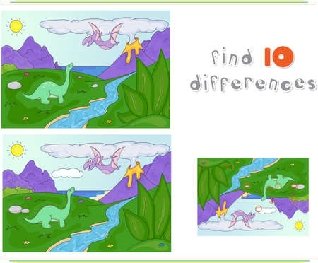 spews: Dinosaurs diplodocus and pterodactyl on a background of  prehistoric nature: mountains, sea and ferns. Volcano spews lava. Educational game for kids: find ten differences