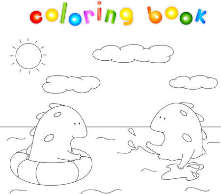 water spray: Lovely imaginary dragons splashing in the water. Оne monster swims in sea in lifebuoys, another creature swim on its own and sprinkles water spray. Coloring book. Educational game for children. Stock Photo