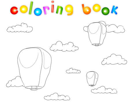 sky lantern: PingSi Lantern in the blue sky with clouds. Coloring book
