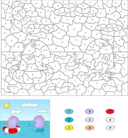 swiming: Color by number educational game for kids. Purple dragon swiming in the sea with a buoy and squirting water.