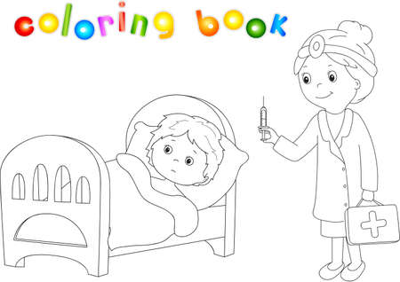 flu immunization: Doctor makes vaccination to the patient. Sick boy lies in bed. Coloring book for kids about healthcare. Stock Photo