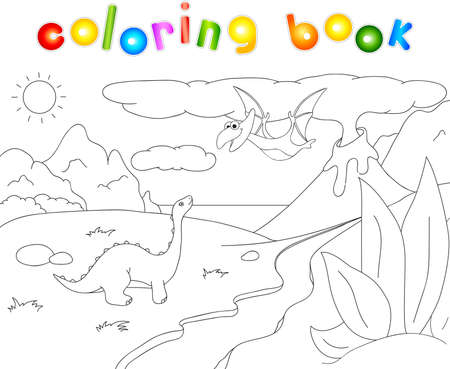 spews: Dinosaurs diplodocus and pterodactyl on a background of  prehistoric nature: mountains, sea and ferns. Volcano spews lava. Coloring book. Stock Photo