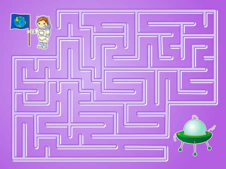 lost in space: Help astronaut to find way to the flying saucer and find spaceship in a maze. Educational game for children.