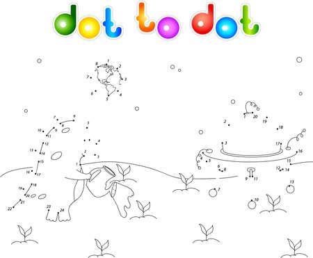 watering plant: Cute and friendly alien watering plant on his planet. Connect dots and get image. Educational game for kids.