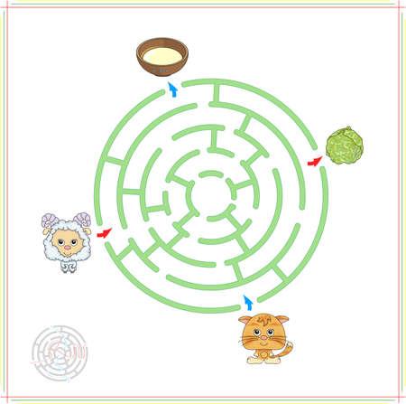 the maze: Cordero y gatito con su comida (leche y col). Juego para los ni�os: ir a trav�s del laberinto y encontrar la respuesta correcta