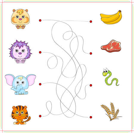 worm snake: Hamster, hedgehog, elephant and tiger with their food (banana, meat, snake, worm, corn). Game for children: go through the maze and find the right answer Stock Photo