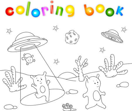 spacecraft: Cute friendly aliens land on the planets surface from the spacecraft. Educational game for children. Coloring book about space.