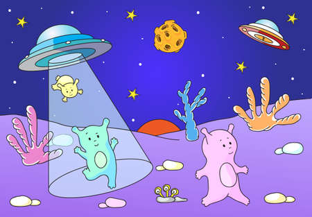 spacecraft: Cute friendly aliens land on the planets surface from the spacecraft. Stock Photo