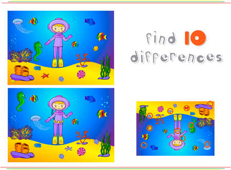 ocean floor: Cute cartoon scuba diver and fish under water. Seahorse, jellyfish, coral and starfish on the ocean floor. Educational game for kids: find ten differences