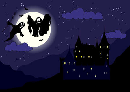 ghost house: Funny ghosts in the night halloween sky and ancient castle on the mountains