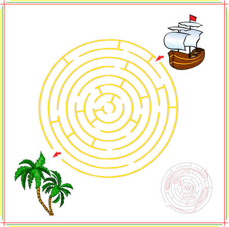 lost child: Help the ship go through a maze and find tropical island with palms. Educational game for children.