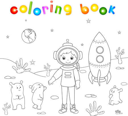 moons: Cute and friendly martians greeting astronaut on their planet. Cosmonaut landed on the moons surface. Educational coloring for children.