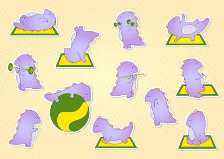 Crummy bellied dragon doing exercises: sit-ups, pull-ups, push-ups, press, meditation and yoga. stickers for children.